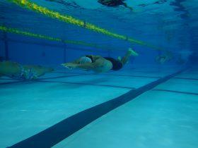 しっかりと頭を腕で挟み込んで水底と体を並行に保つ!